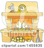 Clipart Of A Cartoon Candle And Mantle Clock Over A Fireplace Royalty Free Vector Illustration