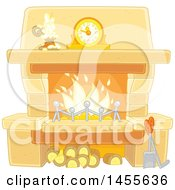 Clipart Of A Candle And Mantle Clock Over A Fireplace Royalty Free Vector Illustration