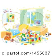 Clipart Of A Cat Sitting Next To A Caucasian Boy Playing With Blocks Royalty Free Vector Illustration