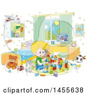 Clipart Of A Cartoon Cat Sitting Next To A Blond White Boy Playing With Blocks Royalty Free Vector Illustration