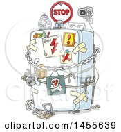 Clipart Of A Cartoon Surveillance Camera On A Locked Refrigerator Dieting Royalty Free Vector Illustration by Alex Bannykh