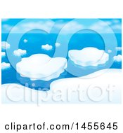 Clipart Of A Still Ocean And Arctic Ice Floe Backdrop Royalty Free Illustration