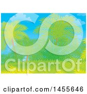 Clipart Of A Tropical Palm Tree Backdrop Royalty Free Illustration