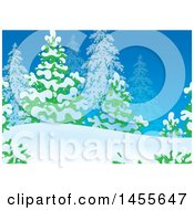 Clipart Of A Winter Evergreen And Snow Backdrop Royalty Free Illustration by Alex Bannykh