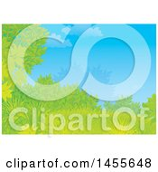 Clipart Of A Grassy Hill Tree And Shrub Against Blue Sky Backdrop Royalty Free Illustration