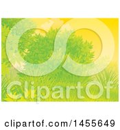 Clipart Of A Grassy Hill Tree And Shrub Against A Sunset Sky Backdrop Royalty Free Illustration