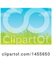 Clipart Of A Grassy Hill And Blue Sky Backdrop Royalty Free Illustration