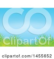 Clipart Of A Grass And Blue Sky Backdrop Royalty Free Illustration