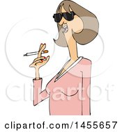 Cartoon Middle Aged Woman Smoking A Cigarette