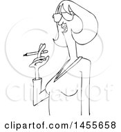 Cartoon Black And White Lineart Woman Smoking A Cigarette