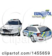 Clipart Of A Czech Republic Police Car Shown From The Rear And Front Royalty Free Vector Illustration by dero