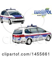 Clipart Of A Autrian Police Car Shown From The Side And Front Royalty Free Vector Illustration by dero