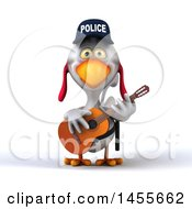 Clipart Graphic Of A 3d White Police Chicken Playing A Guitar On A White Background Royalty Free Illustration