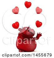 Poster, Art Print Of 3d Red Bull Character Juggling Love Hearts On A White Background