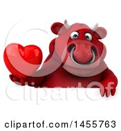 Poster, Art Print Of 3d Red Bull Character Holding A Love Heart On A White Background