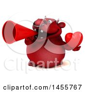 3d Red Bull Character Holding A Love Heart On A White Background