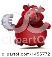 3d Red Bull Character Holding A Euro Symbol On A White Background