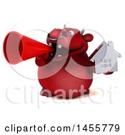 3d Red Bull Character Holding A House On A White Background