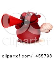 3d Red Bull Character Holding A Brain On A White Background