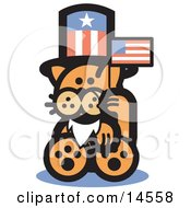 Orange Cat Wearing A Fake White Beard And An American Hat And Waving A Flag On Independence Day Clipart Illustration