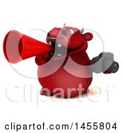 3d Red Bull Character Holding A Camera On A White Background