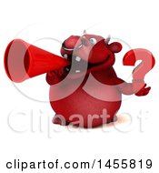 3d Red Bull Character Holding A Question Mark On A White Background