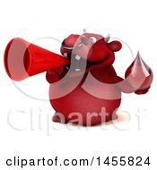 3d Red Bull Character Holding A Blood Drop On A White Background