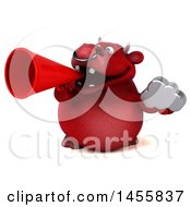 3d Red Bull Character Holding A Cloud On A White Background