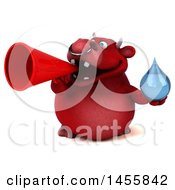 3d Red Bull Character Holding A Water Drop On A White Background