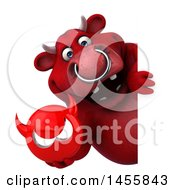 Clipart Graphic Of A 3d Red Bull Character Holding A Devil Head On A White Background Royalty Free Illustration