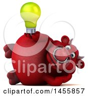 Poster, Art Print Of 3d Red Bull Character Holding A Light Bulb On A White Background