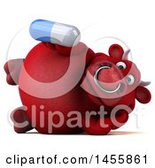 3d Red Bull Character Holding A Pill On A White Background