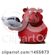 Poster, Art Print Of 3d Red Bull Character Holding A Plane On A White Background
