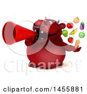 3d Red Bull Character Holding Produce On A White Background