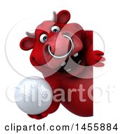 3d Red Bull Character Holding A Golf Ball On A White Background