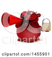 3d Red Bull Character Holding A Padlock On A White Background