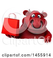 3d Red Bull Character Holding A Shopping Bag On A White Background