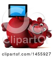 3d Red Bull Character Holding A Tablet Computer On A White Background