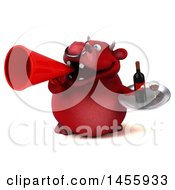 3d Red Bull Character Holding A Wine Tray On A White Background