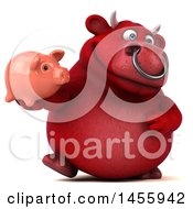 3d Red Bull Character Holding A Piggy Bank On A White Background