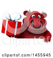 Poster, Art Print Of 3d Red Bull Character Holding A Gift On A White Background
