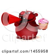 3d Red Bull Character Holding A Cupcake On A White Background