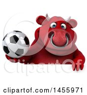 3d Red Bull Character Holding A Soccer Ball On A White Background