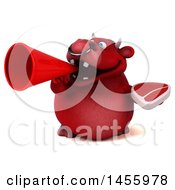 3d Red Bull Character Holding A Steak On A White Background
