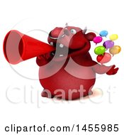 3d Red Bull Character Holding Speech Bubbles On A White Background