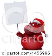 3d Red Christmas Bull Character Holding A Blank Sign On A White Background