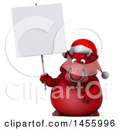 Clipart Graphic Of A 3d Red Christmas Bull Character Holding A Blank Sign On A White Background Royalty Free Illustration