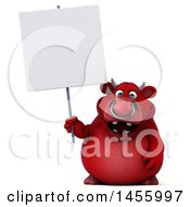 Clipart Graphic Of A 3d Red Bull Character Holding A Blank Sign On A White Background Royalty Free Illustration