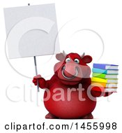 Clipart Graphic Of A 3d Red Bull Character Holding A Stack Of Books On A White Background Royalty Free Illustration
