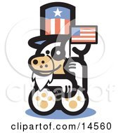 Cute Dog Disguised As Uncle Sam Waving A Flag On Independence Day Clipart Illustration